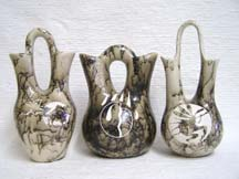 Native American Indian Made Horsehair Pottery--Wedding Vases