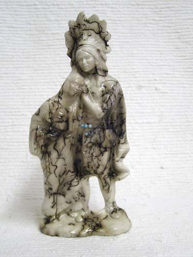 Horsehair Pottery--Indian Chief and Maiden Native American Made Figurine