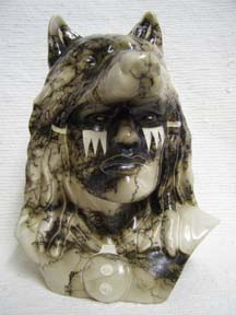 Large Chief's Head with Wolf