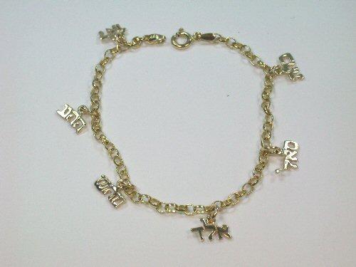 Gold 72 Name Kabbalah Charm Bracelet
