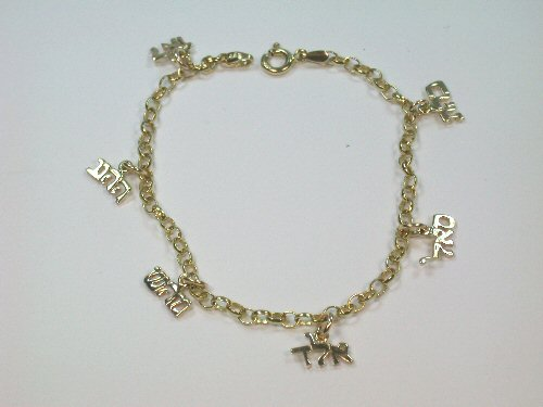 Relatively Gold 72 Name Kabbalah Charm Bracelet NM94